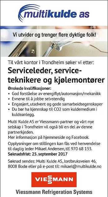 Ledige stillinger hos vårt nye selskap i Trondheim