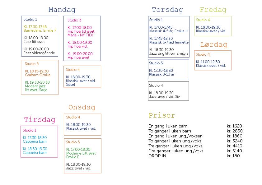 Timeplan vårsemesteret