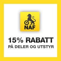 NAF medlemmer: 15% rabatt på deler og utstyr. Medlemskort må forevises. Gjelder ikke på verkstedet.